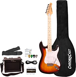 Sawtooth 6 String ES Series ST Style Electric Guitar Beginner's Pack, Sunburst with Pearl White Pickguard, SBP-BEG