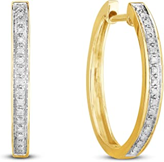 Classic Diamond Hoops in Sterling Silver or Gold