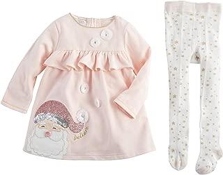 Kids Glitter All The Way Christmas Santa Pink Dress and Tights