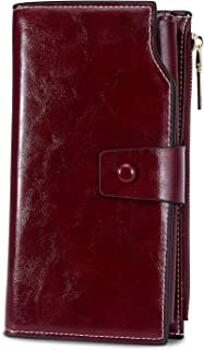 Women's RFID Blocking Large Capacity Luxury Wax PU Leather Clutch Wallet Card Holder Organizer Ladies Purse (wine red)