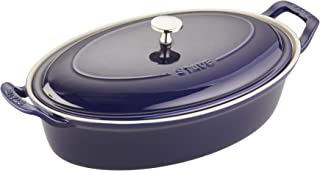 Staub Ceramics Oval Covered Baking Dish, 14-inch, Dark Blue