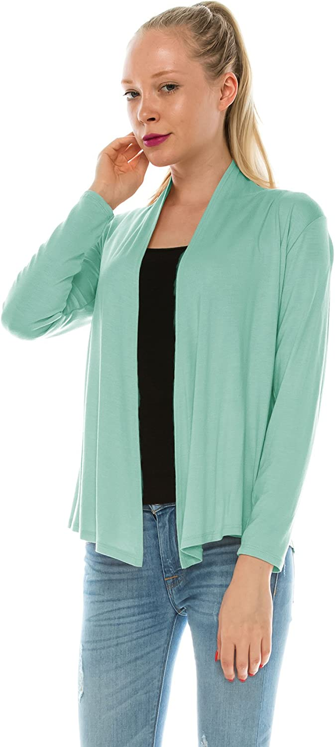 AG2G gifts Womens Lightweight Long Sleeve Open Front Cardigan (S-5X)
