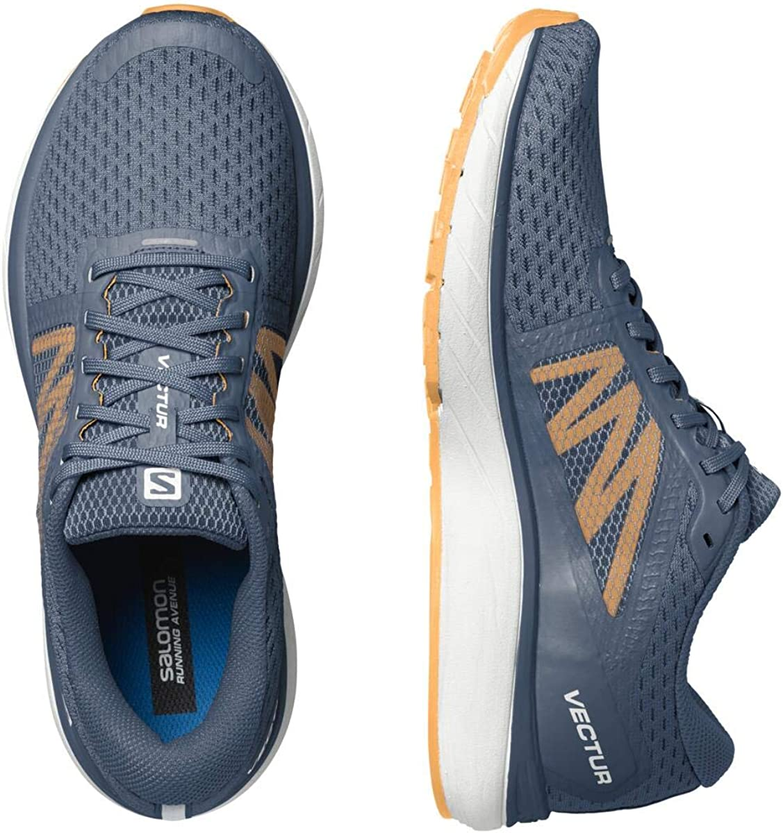 Salomon Mens VECTUR Road Running Shoe Dark Denim//White//Warm Apricot