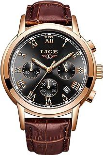 LIGE Mens Watches Fashion Business Quartz Analog Waterproof Watch Gents Sport Chronograph Date Wristwatch Casual Leather B...
