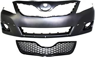 Bumper Cover Kit Compatible with Toyota Camry 2010-2011 Set of 2 With Front Bumper Cover and Grille Assembly SE Models USA Built CAPA