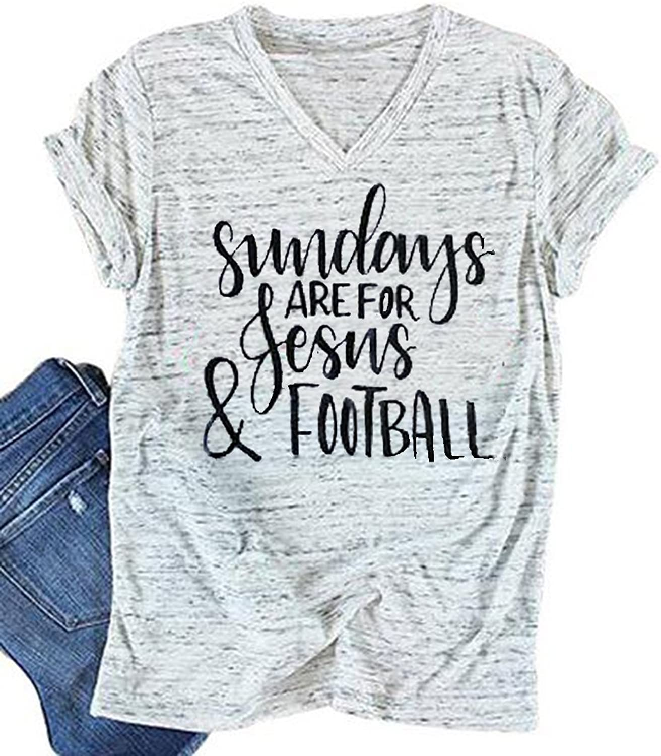 MAXIMGR Women's Sundays are for Jesus Football TShirt Funny Letters Print VNeck Short Sleeve Summer Top Tees