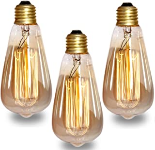 Groeien 40W Dimmable Industrial Pendant Filament Light Bulb with Vintage Antique Design (370 Lumens, Warm White Yellowish) -Pack of 3