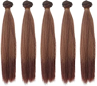 5pcs/lot 25cm Long Straight Synthetic Dark Brown Handcraft Hair Extensions for Making BJD Blythe Pullip Doll's Wig
