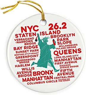 Gone For a Run New York 26.2 Statue of Liberty Ornament | Running Porcelain Ornaments | White