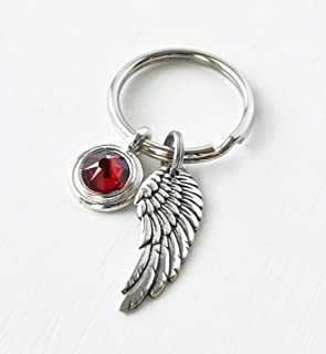 Keychain with Angel Wing and January Birthstone - Sympathy Gift for Dad Men Husband