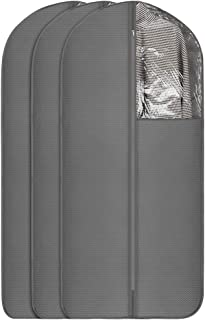 UUJOLY Garment Bag Garment Covers with Clear Window Full Zipper Garment Bag for Dresses & Dance Costumes, Closet Storage and Travel, Fabric, Lengthen