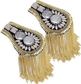 Blazer Shoulder Epaulets Tassel Chain Metal Epaulettes Beads Punk Fringe Epault by The Pair (Gold)