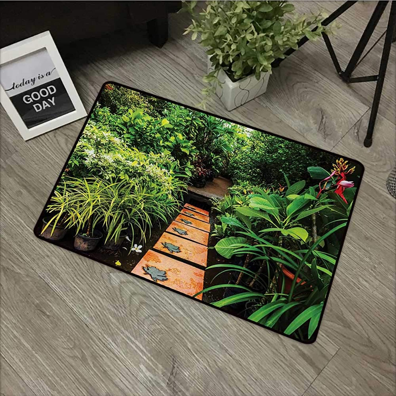 Learning pad W35 x L59 INCH Zen Garden,Lush Garden with Tropical Plants and Wooden Path Tranquility Harmony Theme,Green Pale Brown Non-Slip Door Mat Carpet