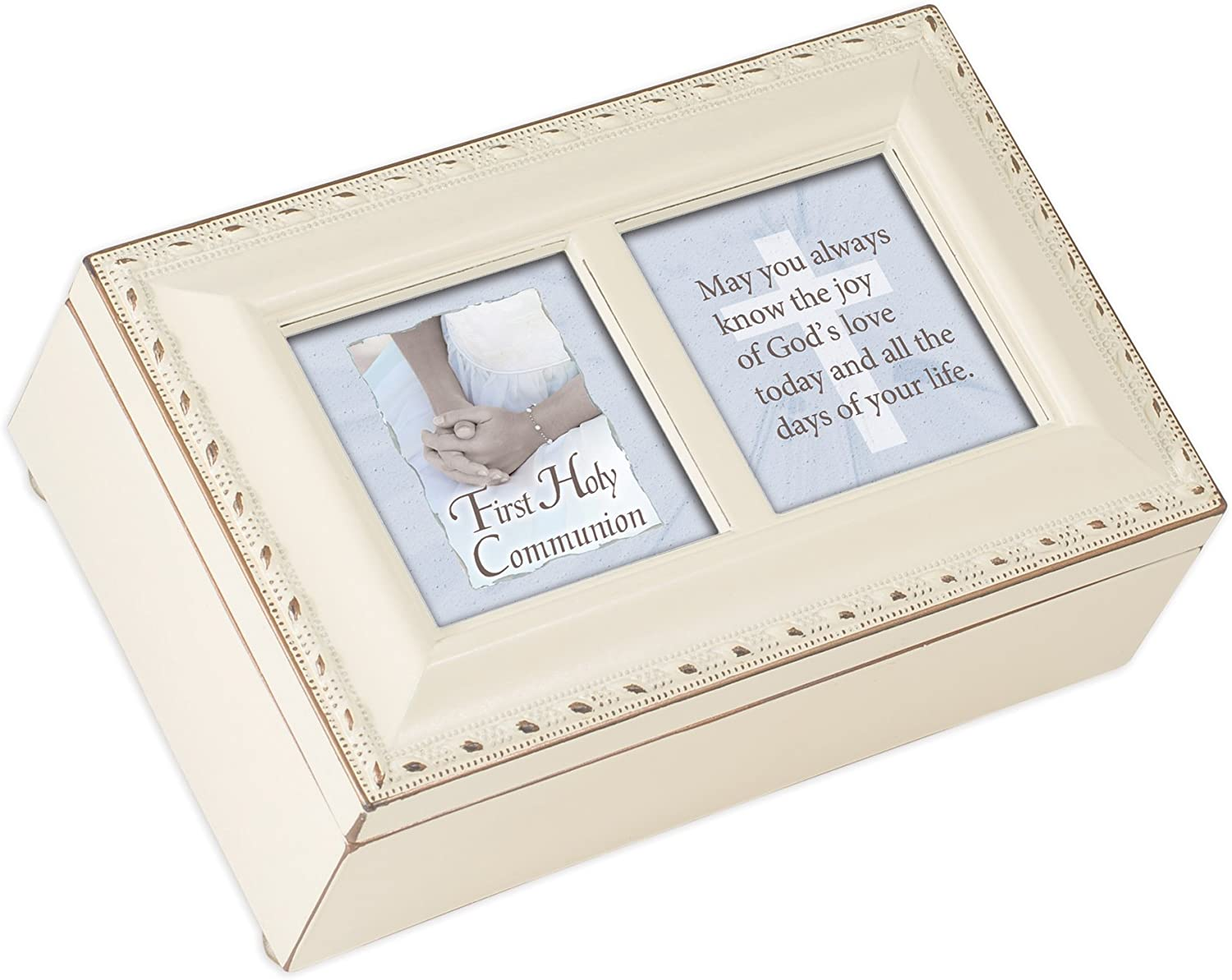 Cottage Garden First Communion Know The Joy Ivory Rope Trim Jewelry Music Box Plays Jesus Loves Me