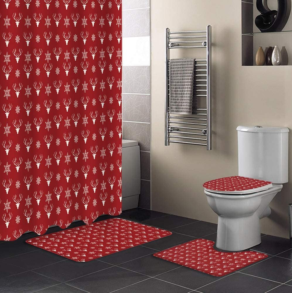 Award-winning store 4 Piece Shower Curtain Sets Non-Slip Toil Christmas Award Include Rug