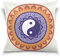 """MASSIKOA Lotus Yin Yang Design Decorative Throw Pillow Case Square Cushion Cover 18"""" x 18"""" for Couch, Bed, Sofa or Patio -..."""