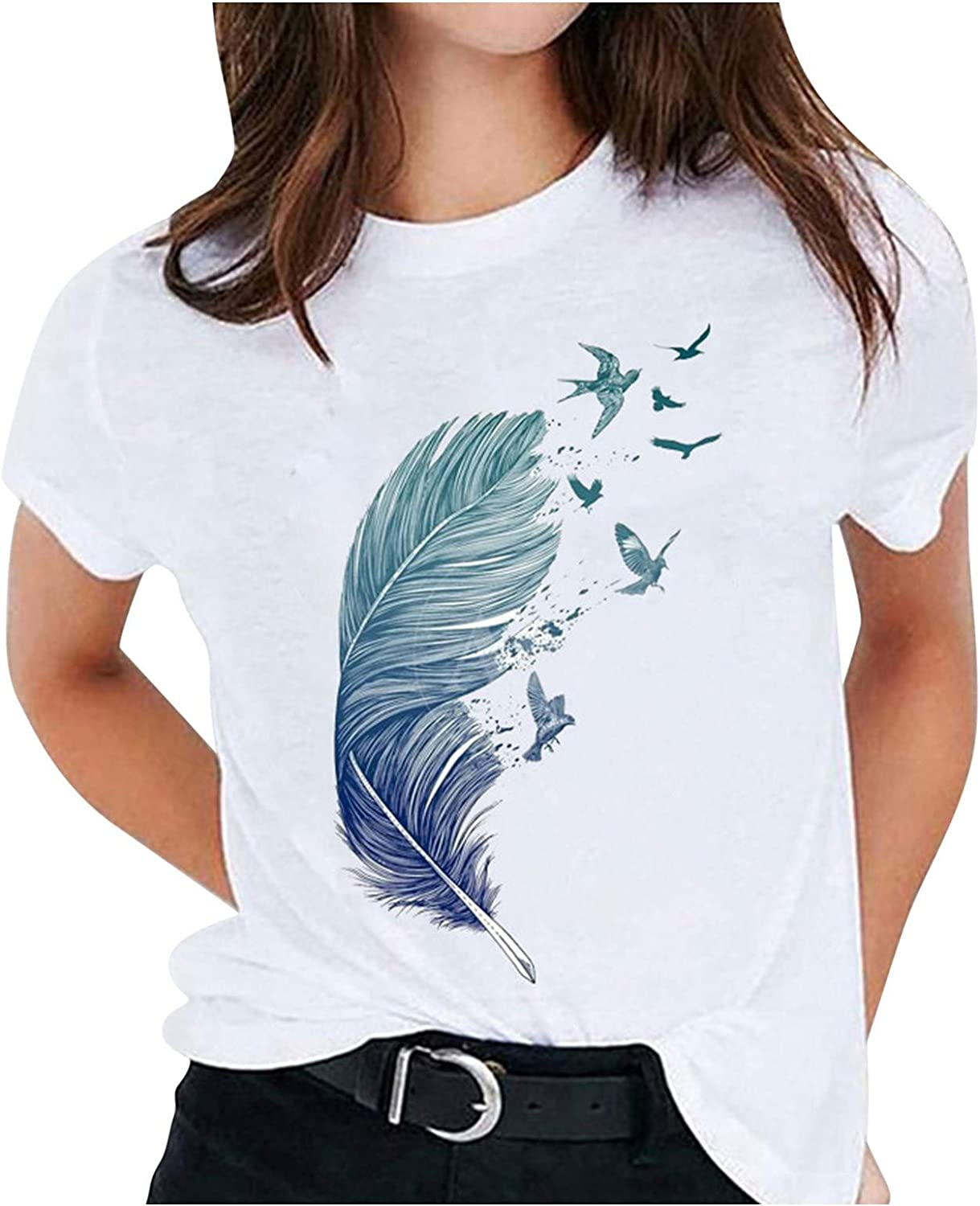 Forwelly Women's Summer Short Sleeve T Shirt Novelty Feather Print Casual O Neck Tee Shirt Basic Top Blouse