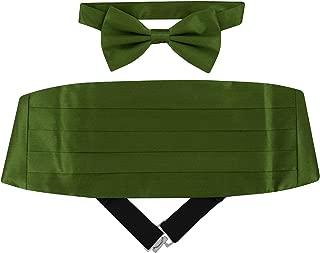 Mens Triangle Blade Fan Jacquard Pre-tied Bow Tie /& Hanky Cummerbund Set