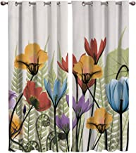 FunDecorArt Blackout Curtains, Freehand Bright-Coloured Flower Polyester Shade Curtains, 2 Panel Drapes/Window Treatment for Bedroom/Living Room/Office/Teen Room, 104 W x 72 L inches