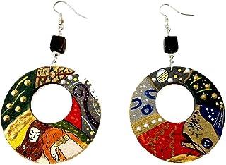 Orecchini dipinti a mano – SERPENTI D'ACQUA DI KLIMT - Orecchini pendenti da donna, Gioielli in legno dipinti a mano, Made...
