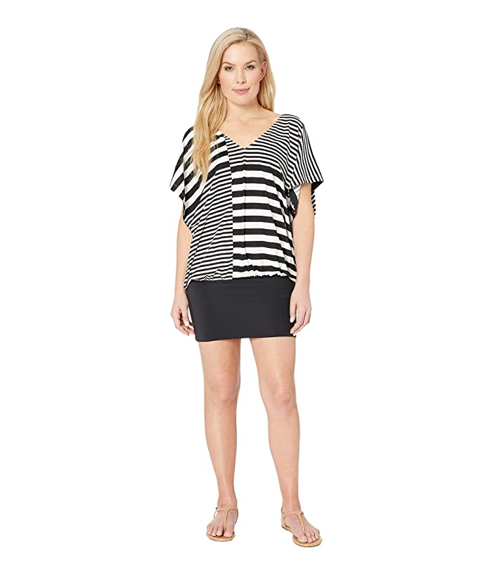 MICHAEL Michael Kors Stripe Group V-Neck Caftan Cover-Up (White) Women