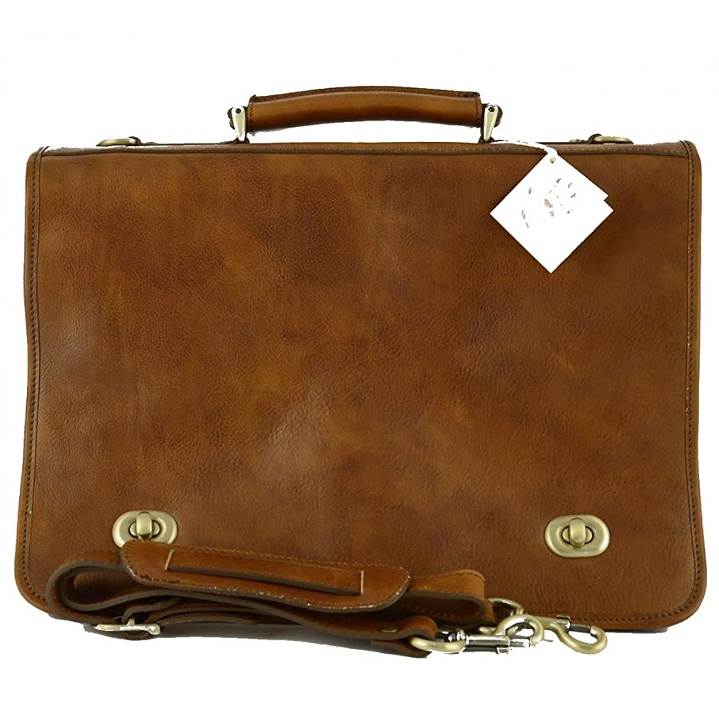 絞るテーママリナーMade In Italy Vegetable Tanned Leather Business Briefcase Color Tan - Prestige Line