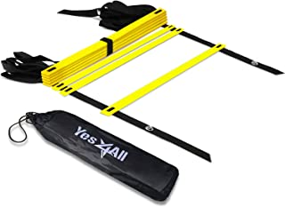 Yes4All Agility Ladder with Carry Bag Footwork Ladder - Multi Choices: 8, 12, 20 Rung and Colorful Combo with Agility Cones (A. 8 Rung - Yellow)
