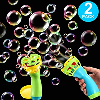 Zonon 2 Pieces Bubble Machine Gun Shooter Toy Electric Fan Blowing Bubble Fan for Kids Girls and Boys Playing Game Toy Ind...