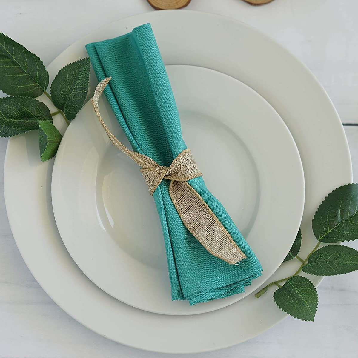BalsaCircle 20 pcs 17-Inch Turquoise Polyester Luncheon Napkins - for Wedding Party Reception Events Restaurant Kitchen Home