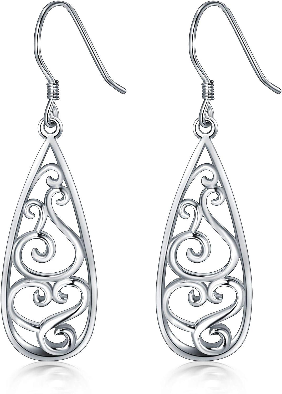 925 Sterling quality assurance Silver Earrings Teardrop Trust BoRuo Filigree