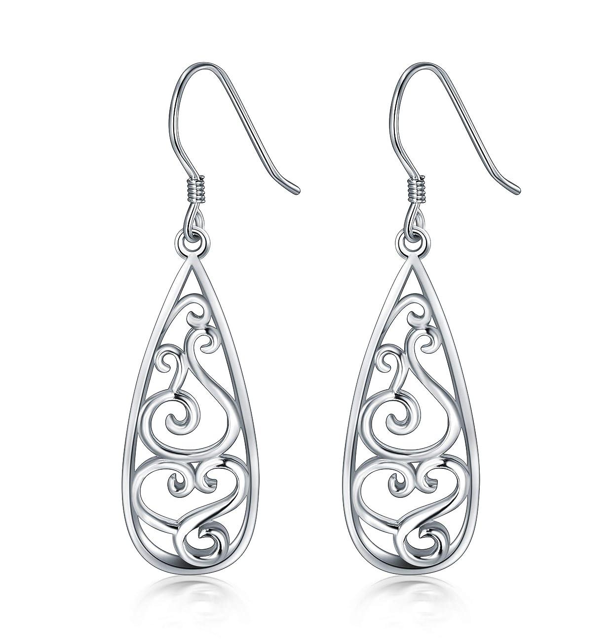 925 Sterling Silver Earrings, BoRuo Filigree Teardrop Earrings