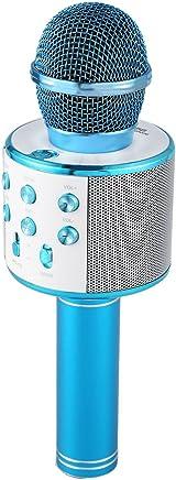 REFURBISHHOUSE Microfono de Karaoke inalambrico Mini KTV en casa Bluetooth portatil para Tocar y Cantar Musica Altavoz Reproductor Selfie Phone PC Azul