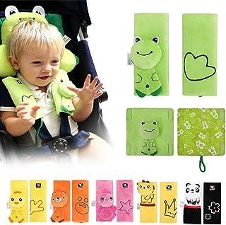 漫画の動物の幼児の赤ん坊のソフトハーネスカーシートベルトストラップカバーパッドUNIVERSALリバーシブルストラップは、子供のシートベルトカバー、ベビーカーアクセサリー、ヘッドサポート、ショルダーパッド(グリーン蛙)をカバー