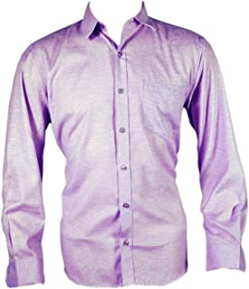Spanish One Look Men Checked 100% Cotton Formal Shirt Purple