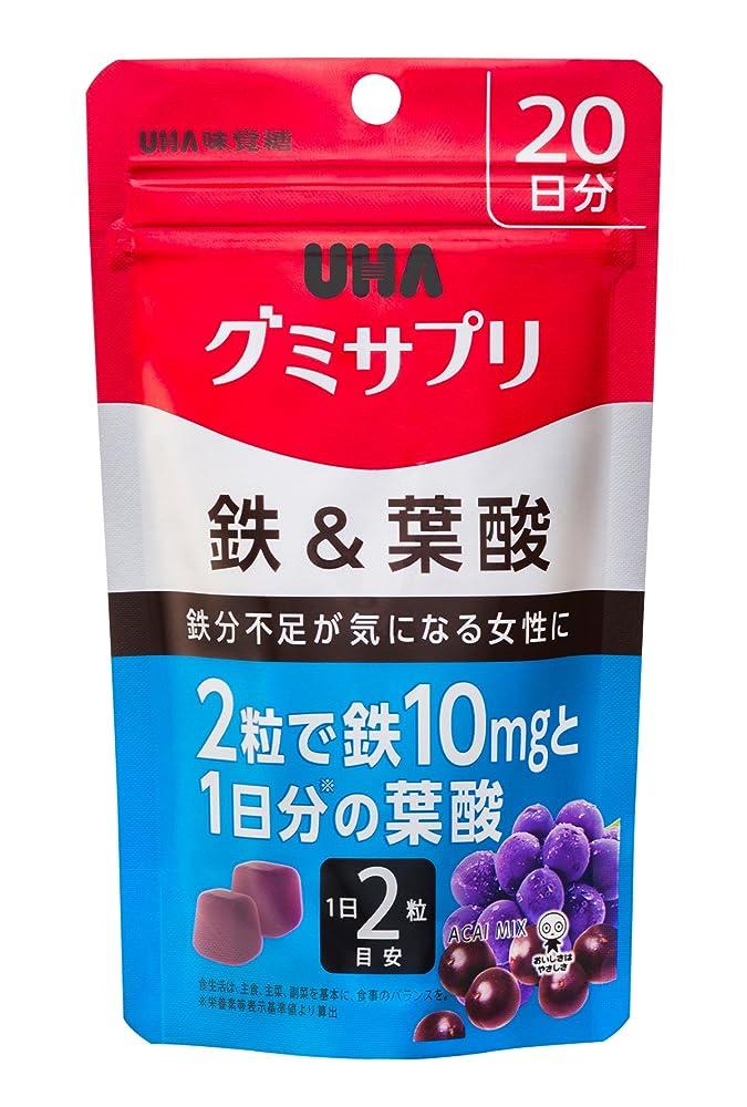 豆脇に買い手UHAグミサプリ 鉄&葉酸 アサイーミックス味 スタンドパウチ 40粒 20日分