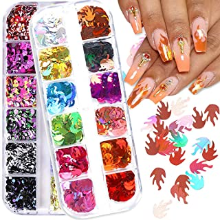 Nail Art Glitter Sequins Acrylic Nails Supplies Holographic Glitter Flame Nail Sparkle Nail Art Decals Decoration Accessories For Women Girls Colorful Fire Mermaid Dots�2 Box