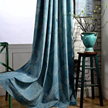 2 Panel Teal Blue Curtains Geometric Circle - Anady Linen Cotton Short Curtains Grommet Drapes 63 inch Long(Customized Available)