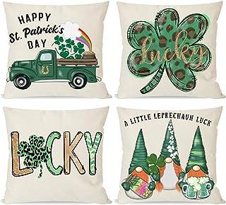 PANDICORN Set of 4 St Patricks Day Pillow Covers 18x18 for St Patricks Day Decorations, St. Patricks Pattys Day Green Sham...