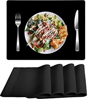 Mofason Silicone Placemats for Dining Table, Heat Resistant Table Placemat Set of 4, Black Waterproof Non Slip Table Mat, ...