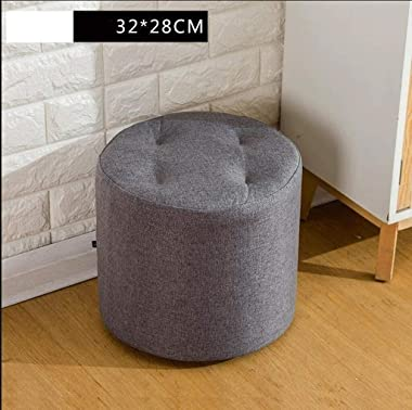 lyqqqq Ottomans Footstool Sofa Stool Wooden BenchSeat-Solid Wood Frame Detachable Linen Fashion Filling Sponge Soft and Comfo