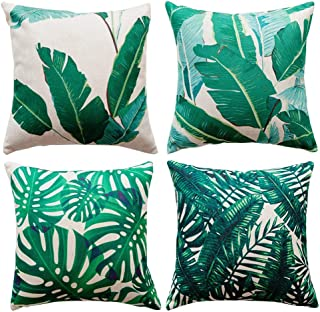 Unibedding Tropical Banana Throw Pillows Covers Palm Tree Leaves Fall Decorative Outdoor..