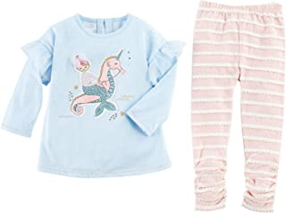 Mud Pie Kids Girls Mermaid Riding Seahorse Winter Tunic Top and Legging Set