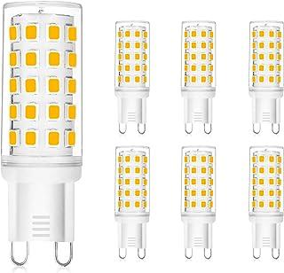 WEDNA Bombilla LED G9, 54 LEDs lámpara G9, 3W Equivalente 30W Lampara Halógena, 350 lúmenes, Blanco Calido 3000K, AC 110-240V, No regulable, Sin parpadeo, paquete de 6