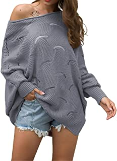 Byinns Womens Pullover Sweaters Off Shoulder Batwing Sleeve Loose Oversized Hollow Knitted Casual Jumper Tops