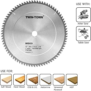TWIN-TOWN 12-Inch Saw Blade, 80 Teeth,General Purpose for Soft Wood, Hard Wood & Plywood, ATB Grind, 1-Inch Arbor