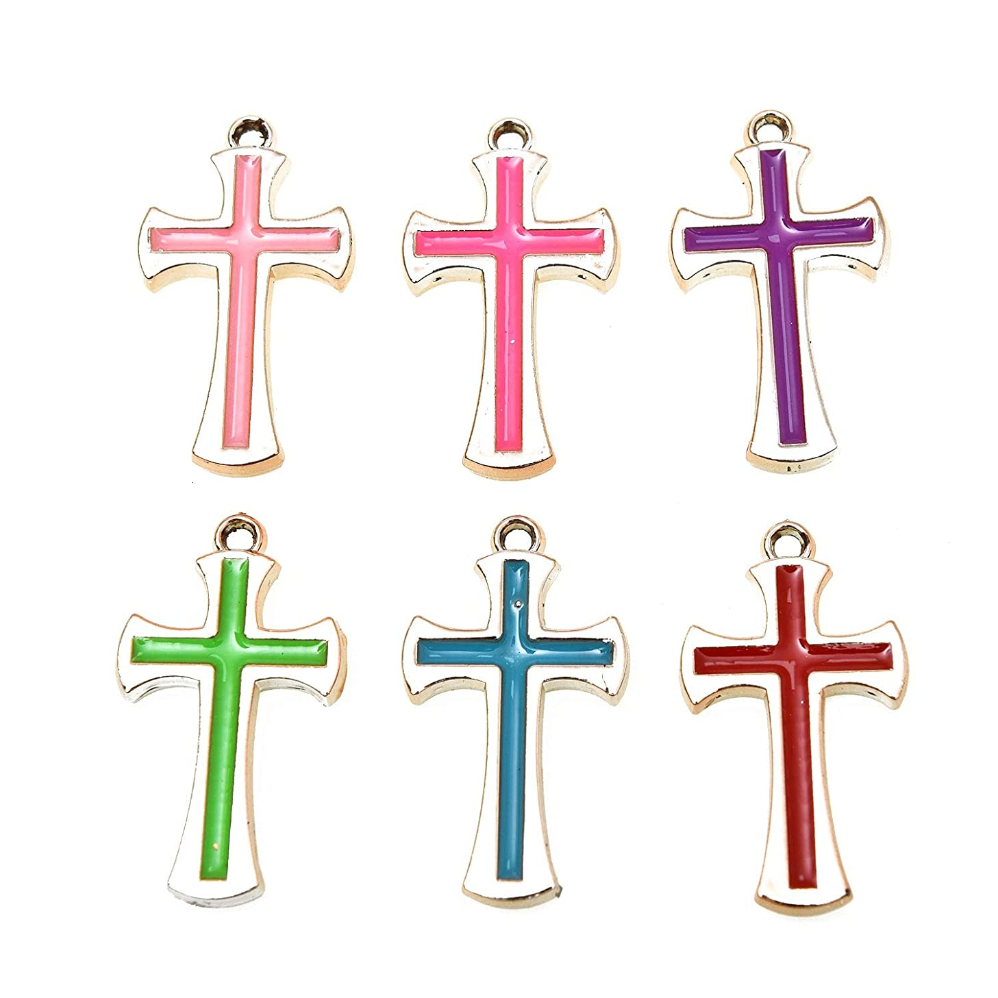 Monrocco 40Pcs Platinum Plated Alloy Enamel Cross Charms for DIY Jewelry Necklace Earring Bracelet Craft Making