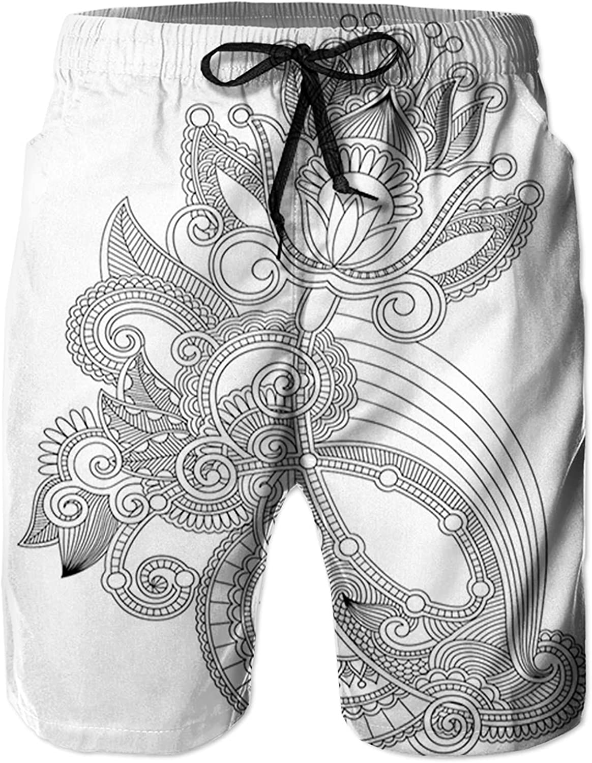 Men's Long Swim Trunks with Mesh Lining Beach Bathing Suits Board Shorts Swimwear with Pockets and No Mesh,Hand Drawn Line Blossoming Organic Nature FlowerMotif Antique Ancient L