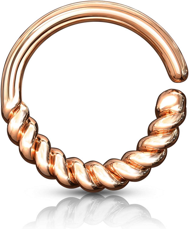Half Circle Braided Bendable Hoop Ring Cartilage/Ear/Septum Piercing Jewelry 16 Gauge