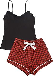 SweatyRocks - Conjunto de pijama para mujer con parte superior y cintura elástica