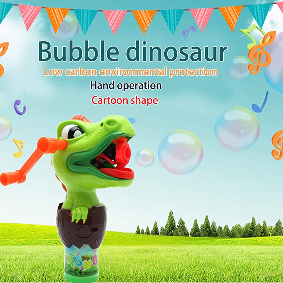 生産性結婚した迫害夏の屋外玩具 子供のおもちゃ ハンド恐竜バブル機 恐竜バブル手動回転連続バブルプレスバブル機のおもちゃ 子供っぽい (グリーン)